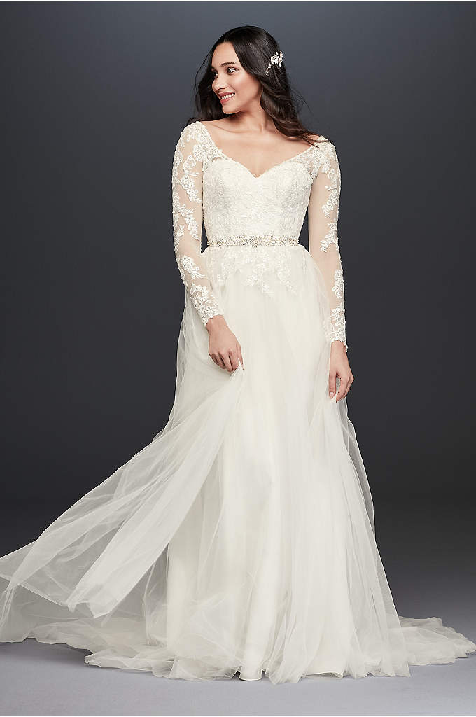 Long Sleeve Wedding Dress With Low Back - Illusion mesh sleeves strike a lovely balance between
