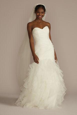 Organza Mermaid Wedding Dress with Ruffled Skirt Davids Bridal