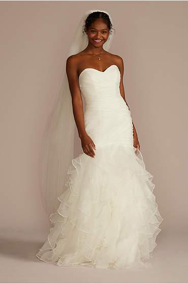 Organza Mermaid Wedding Dress with Ruffled Skirt