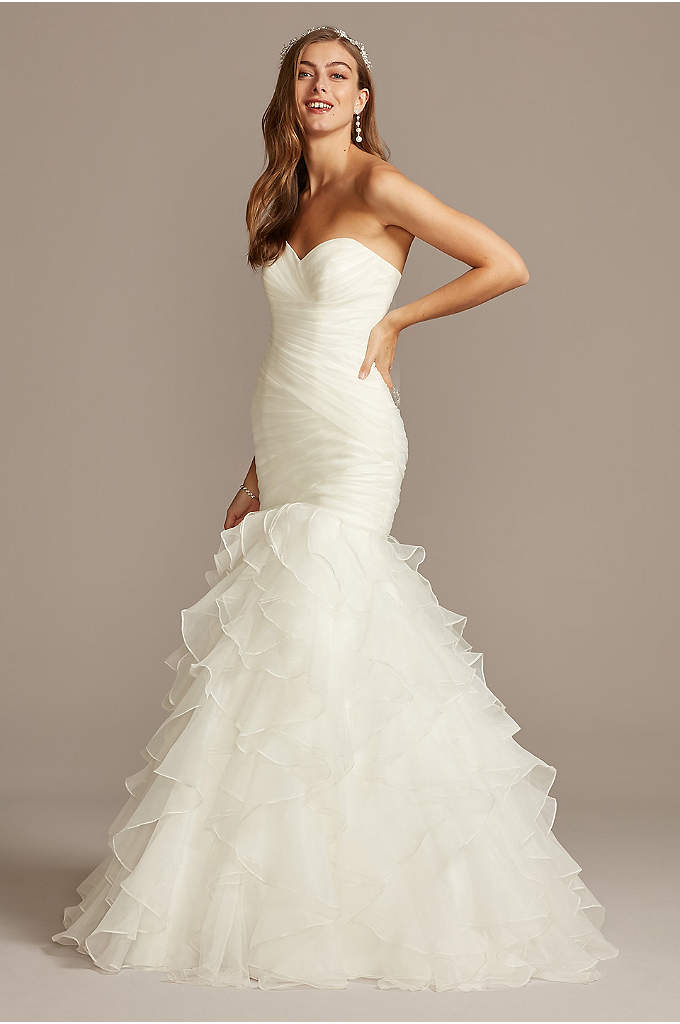 Organza Mermaid Wedding Dress with Ruffled Skirt - Precise pleats and romantic ruffles offer a contrast