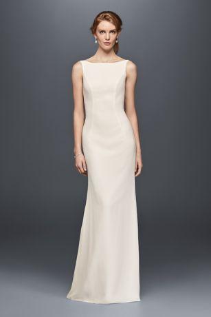 High neck crepe wedding dress with ruffled back davids bridal junglespirit Images