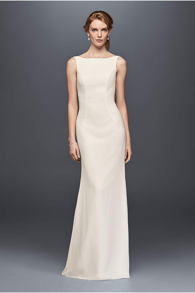 High-Neck Crepe Wedding Dress with Ruffled Back - The elegantly simple front of this crepe column