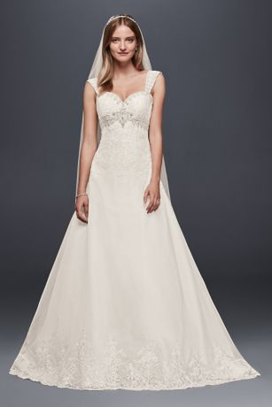 Organza Empire Wedding Dress with Removable Straps Davids Bridal