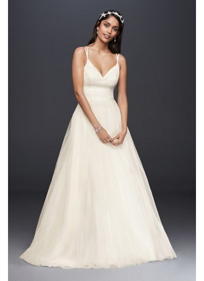 Pleated tulle ball gown wedding dress davids bridal for Davids bridal beach wedding dresses