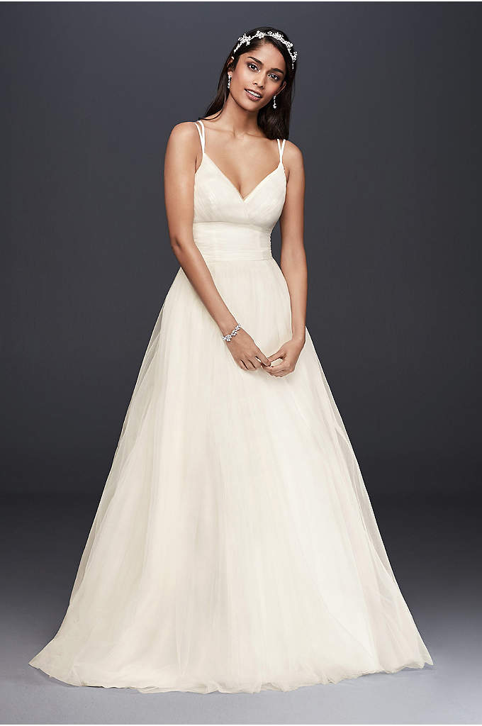 Pleated Strapless Wedding Dress With Empire Waist David