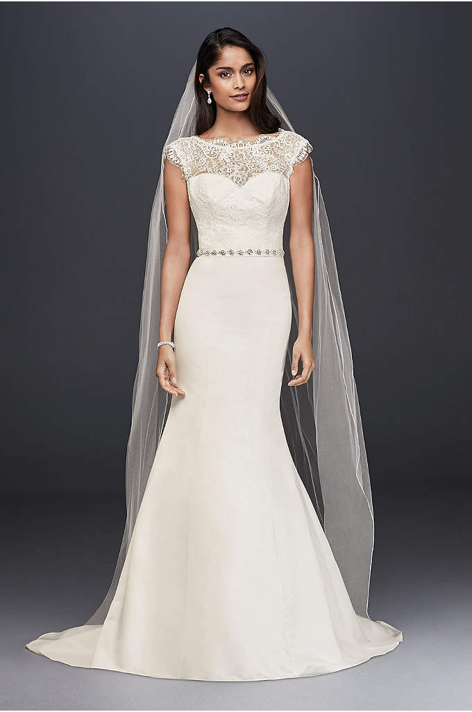 Illusion Lace and Satin Mermaid Wedding Dress - This sleek satin mermaid gown with an illusion