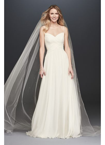 Ruched bodice chiffon a line wedding dress davids bridal for Davids bridal beach wedding dresses