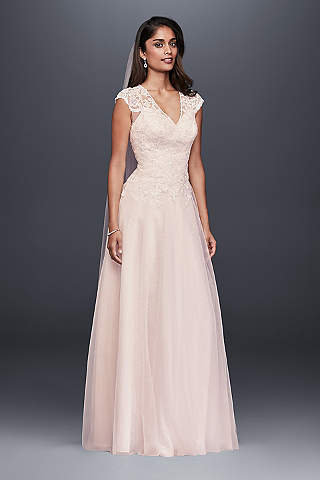 Pink wedding dresses gowns davids bridal long a line romantic wedding dress davids bridal collection junglespirit Image collections