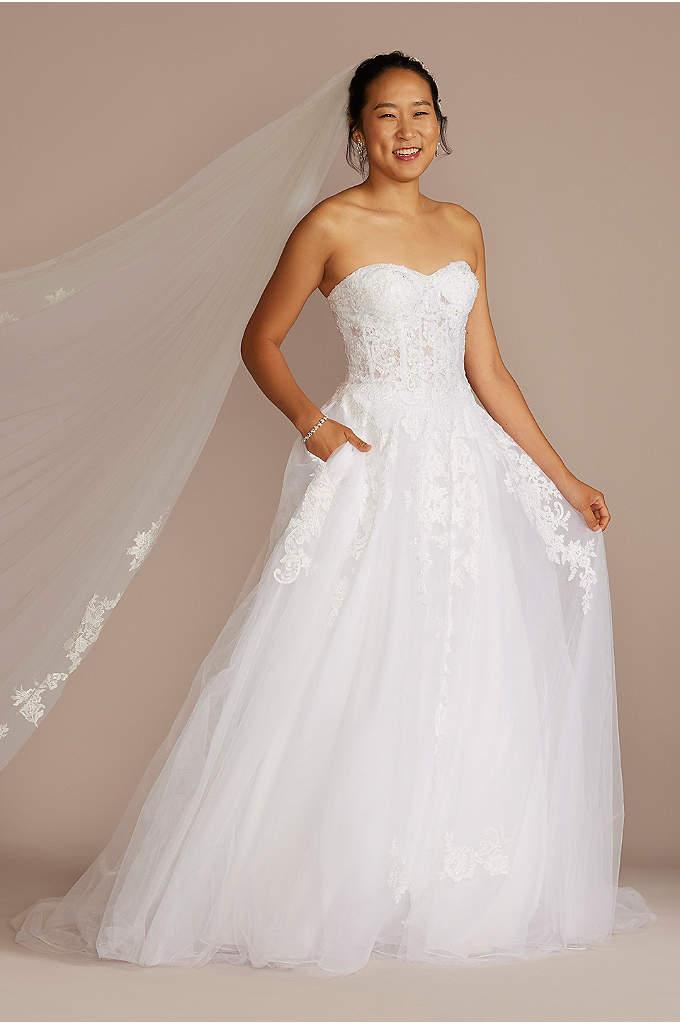One shoulder short wedding dress with lace details david for Wedding dress for 5ft bride