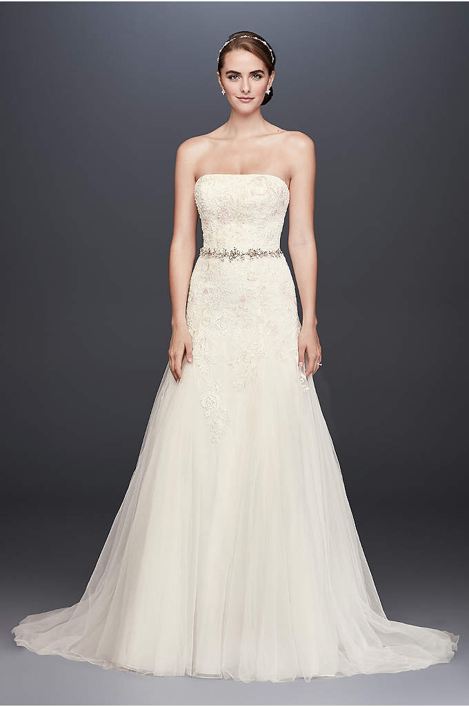 Lace-Appliqued Tulle A-Line Wedding Dress - A straight neckline gives this strapless A-line wedding