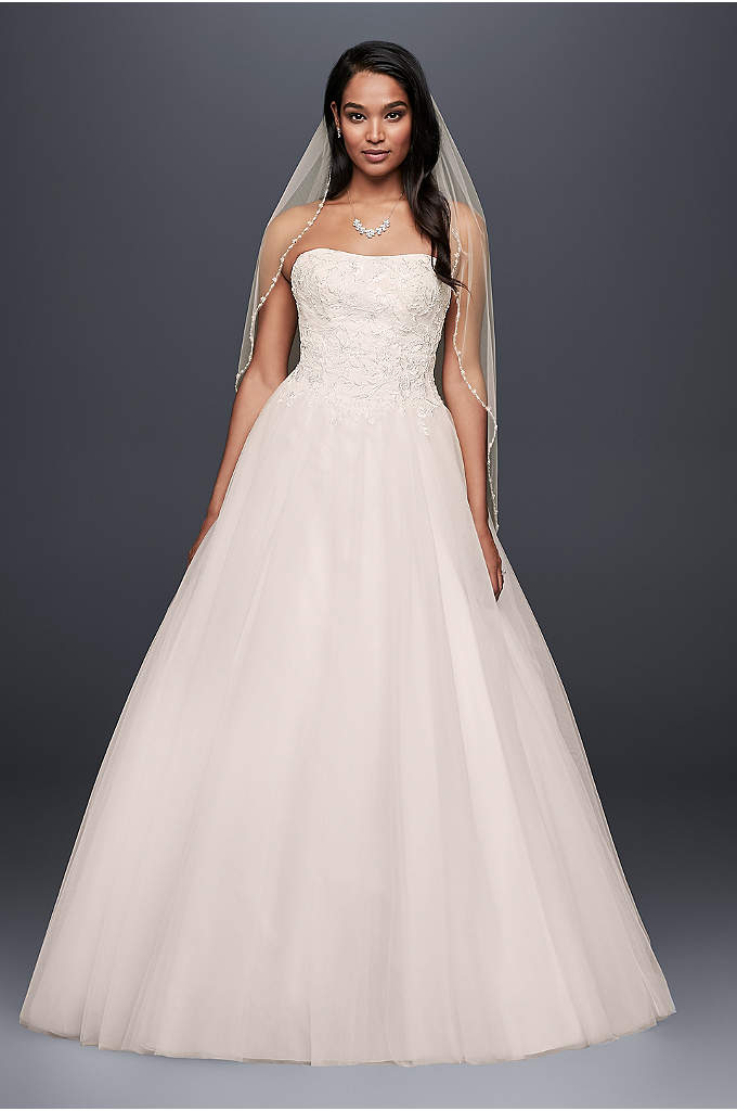 Basque-Waist Beaded Tulle Ball Gown Wedding Dress - The basque waistline of this full tulle ball