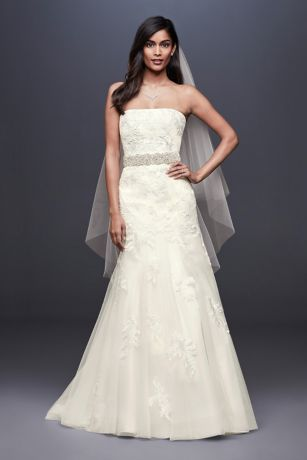 Beaded Lace Mermaid Wedding Dress with Tulle Skirt - The mermaid dress of your wedding dreams, this