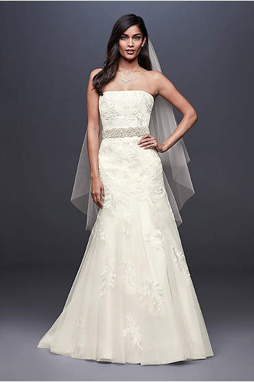 Beaded Lace Mermaid Wedding Dress with Tulle Skirt