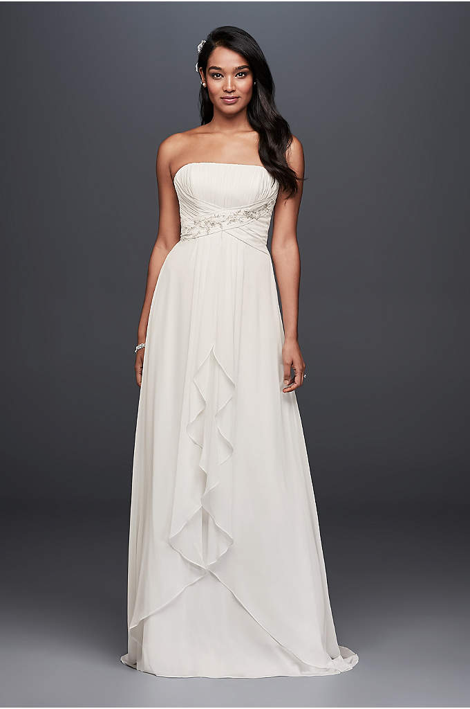 Pleated Chiffon Sheath Wedding Dress with Beading - A soft and effortless look for your wedding,