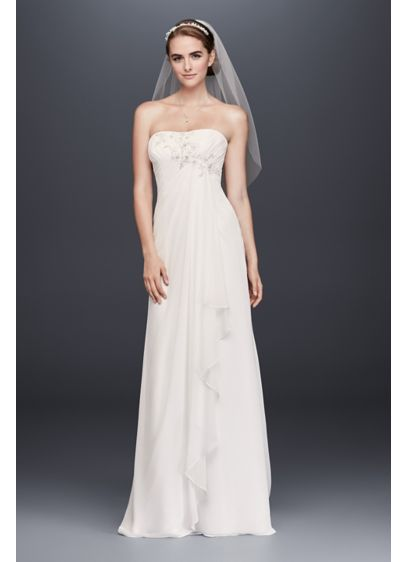 Draped chiffon sheath wedding dress with beading david 39 s for Sheath wedding dress with beading and side drape