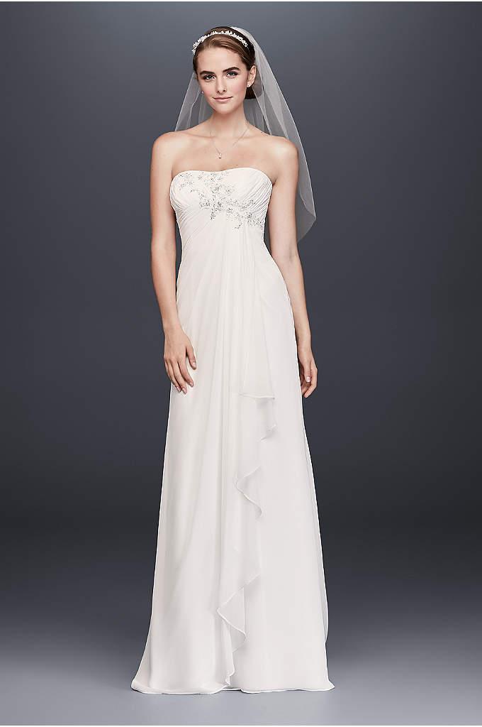 Draped Chiffon Sheath Wedding Dress with Beading - Soft and easy, this draped chiffon wedding dress