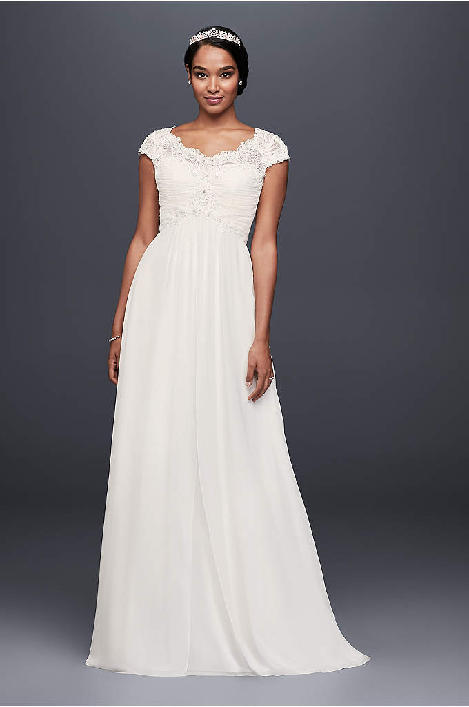 Cap Sleeve Lace and Chiffon Wedding Dress - A corded lace bodice with a flattering empire