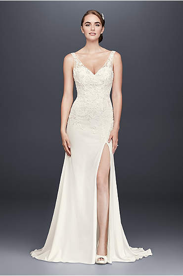 Lace Appliqued Stretch Crepe Sheath Wedding Dress