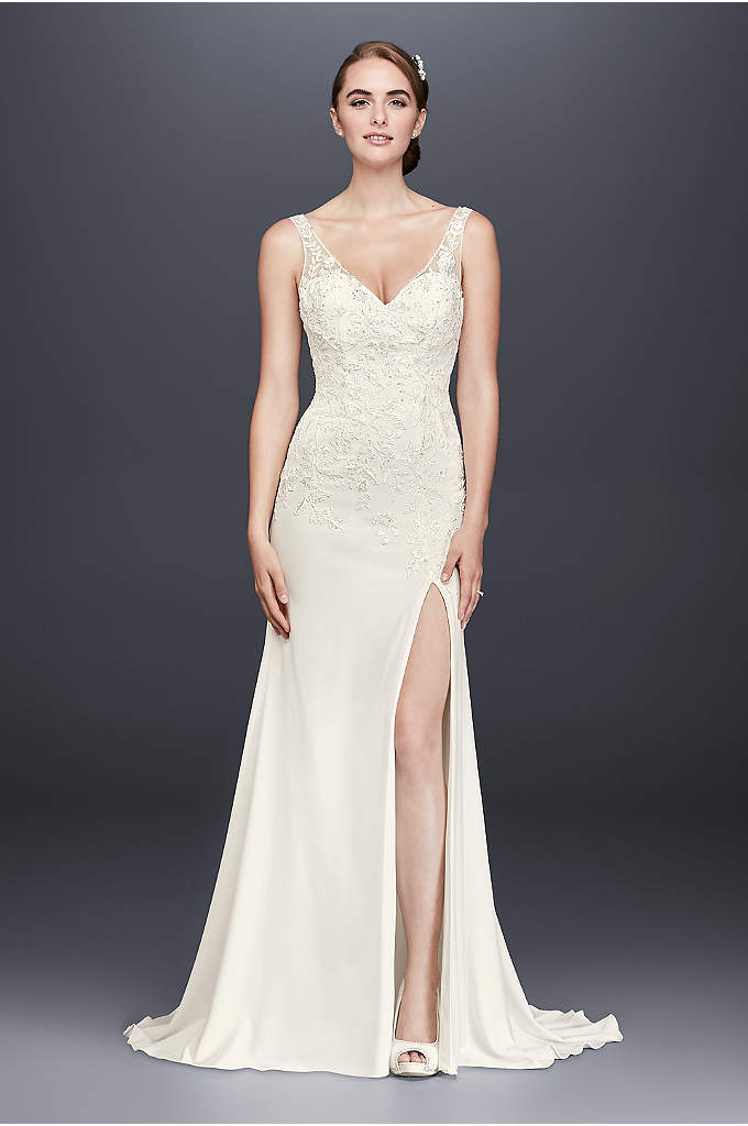 Lace Appliqued Stretch Crepe Sheath Wedding Dress - This chic stretch-crepe sheath wedding gown features airy