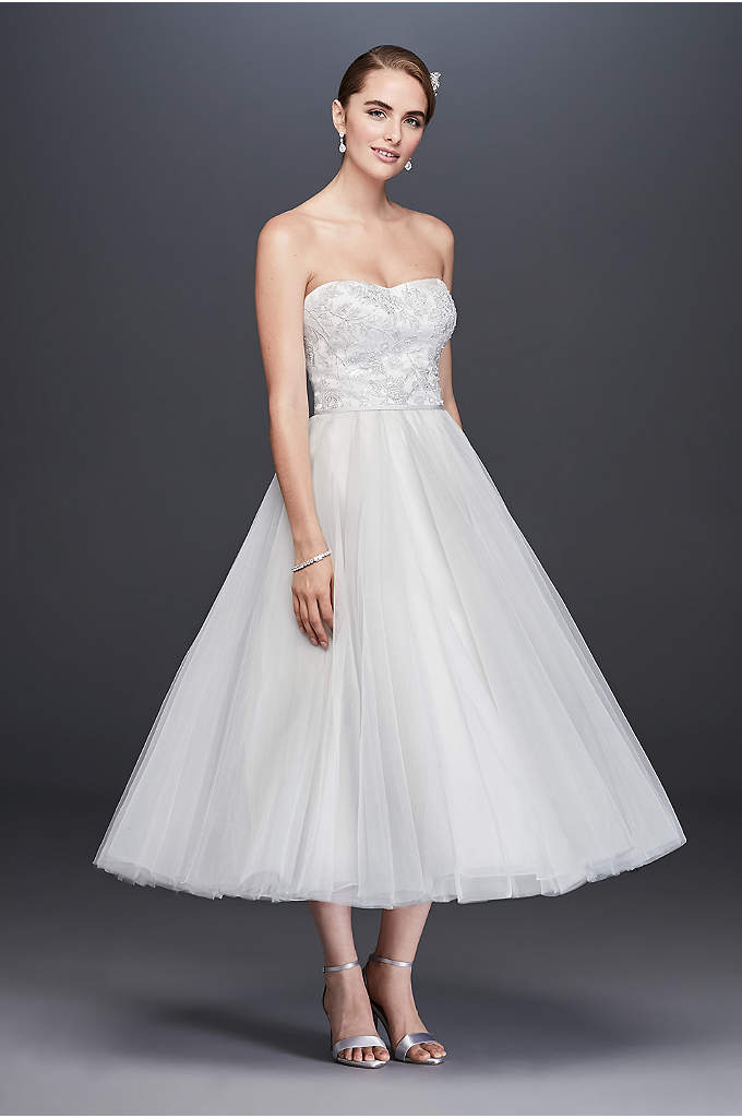 Lace Appliqued Tulle Tea-Length Wedding Dress - Shimmering with sequined appliques and adorned with layers