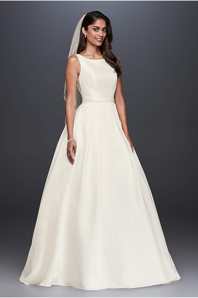 High-Neck Mikado Ball Gown Wedding Dress - With clean lines and a simple silhouette, this