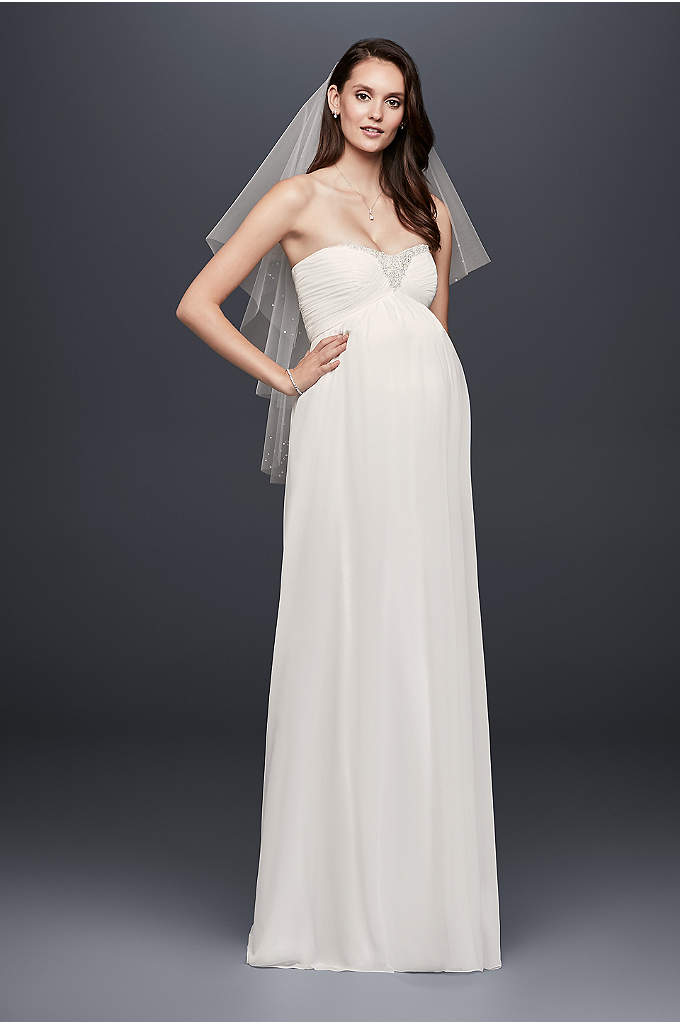 Beaded Chiffon Maternity Wedding Dress - Flowy and flattering, this strapless chiffon maternity wedding