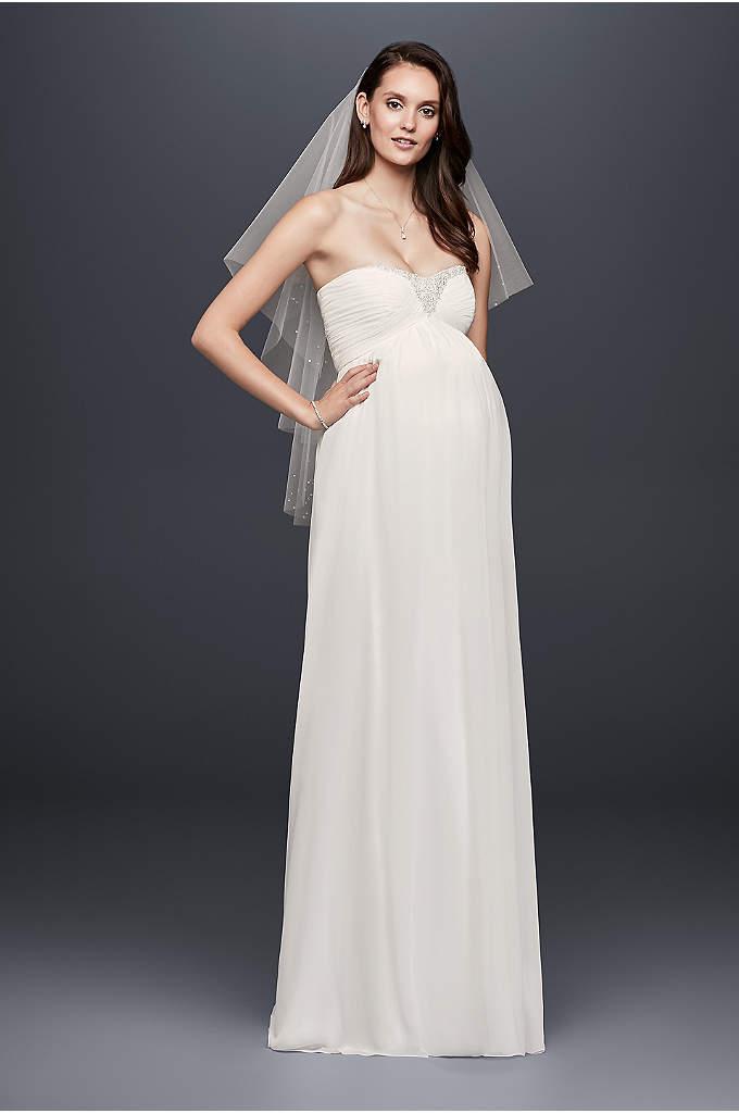 Beaded wedding dresses davidsbridal beaded chiffon maternity wedding dress junglespirit Choice Image