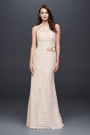 Eyelash Lace Halter Sheath Wedding Dress - Delicate, fringy scallops of eyelash lace create this