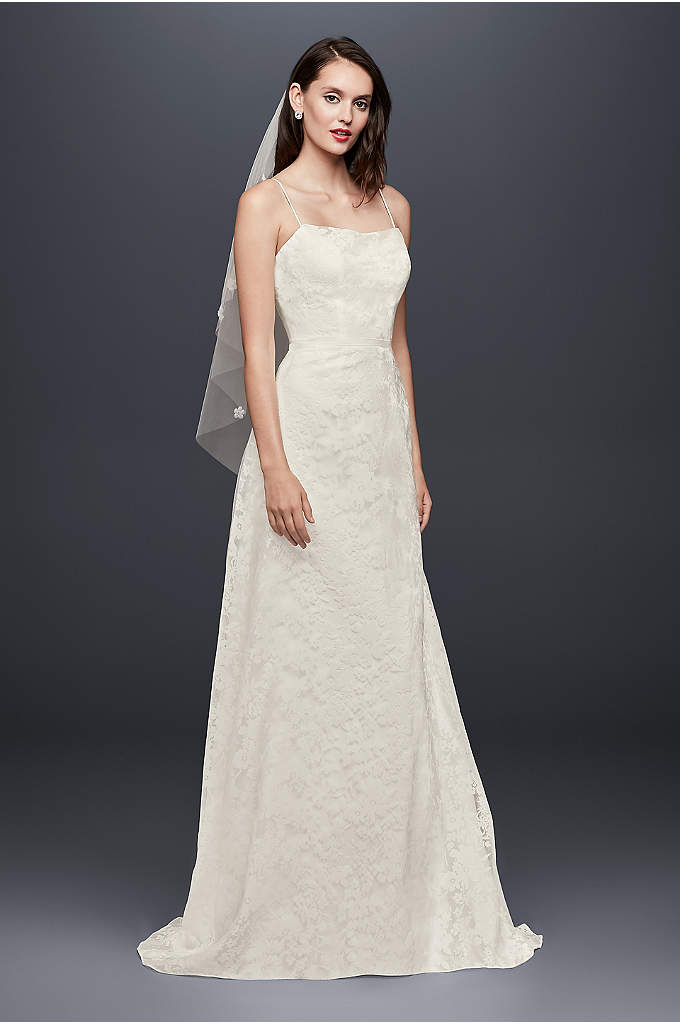 Burnout Floral Organza A-Line Wedding Dress - Wide-set spaghetti straps and a flattering crumb-catcher neckline