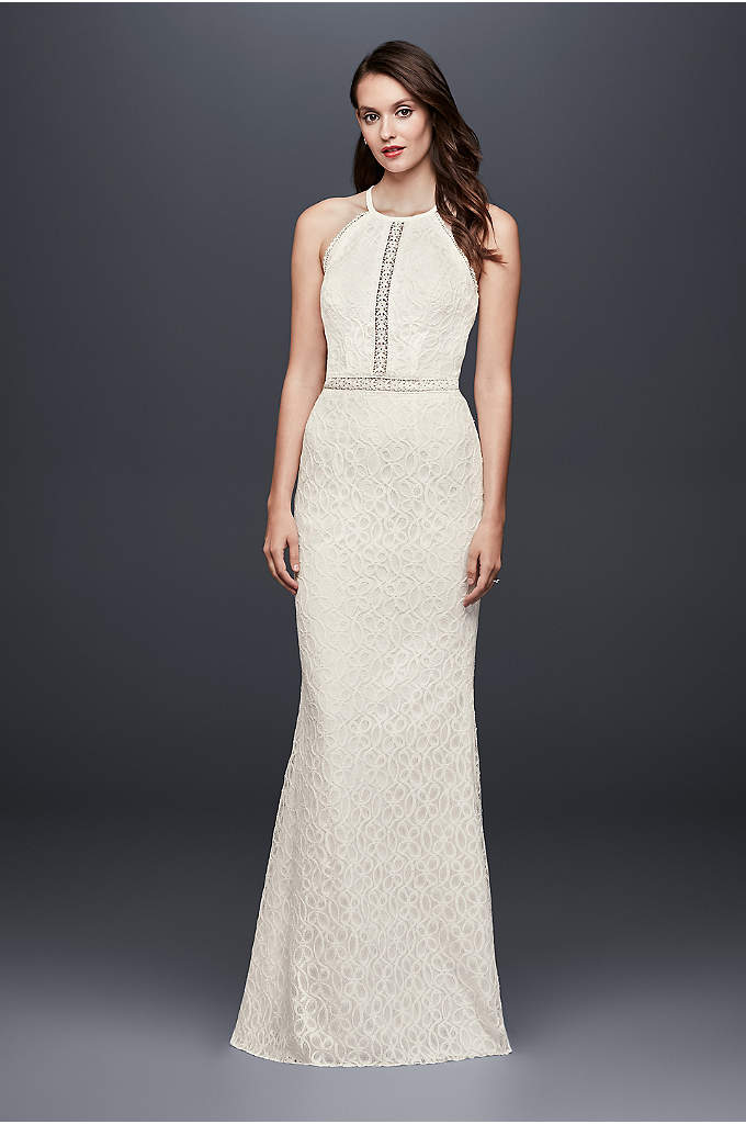Floral Lace Racerback Sheath Wedding Dress - Crafted of distinctive floral lace and inset with