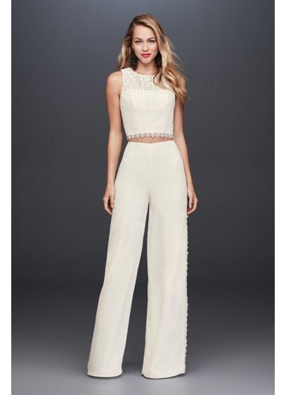 Long Jumpsuit Country Wedding Dress - Galina