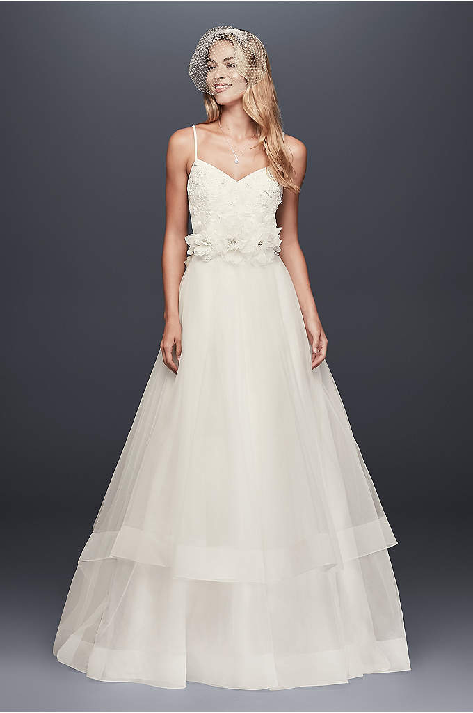3D Floral Bodice Tulle Ball Gown Wedding Dress - A free-spirited take on the traditional ball gown