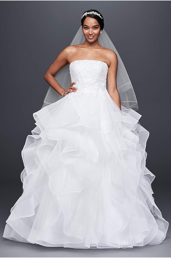 Embroidered Lace and Horsehair Skirt Wedding Dress - Wide horsehair trim gives this tulle ball gown