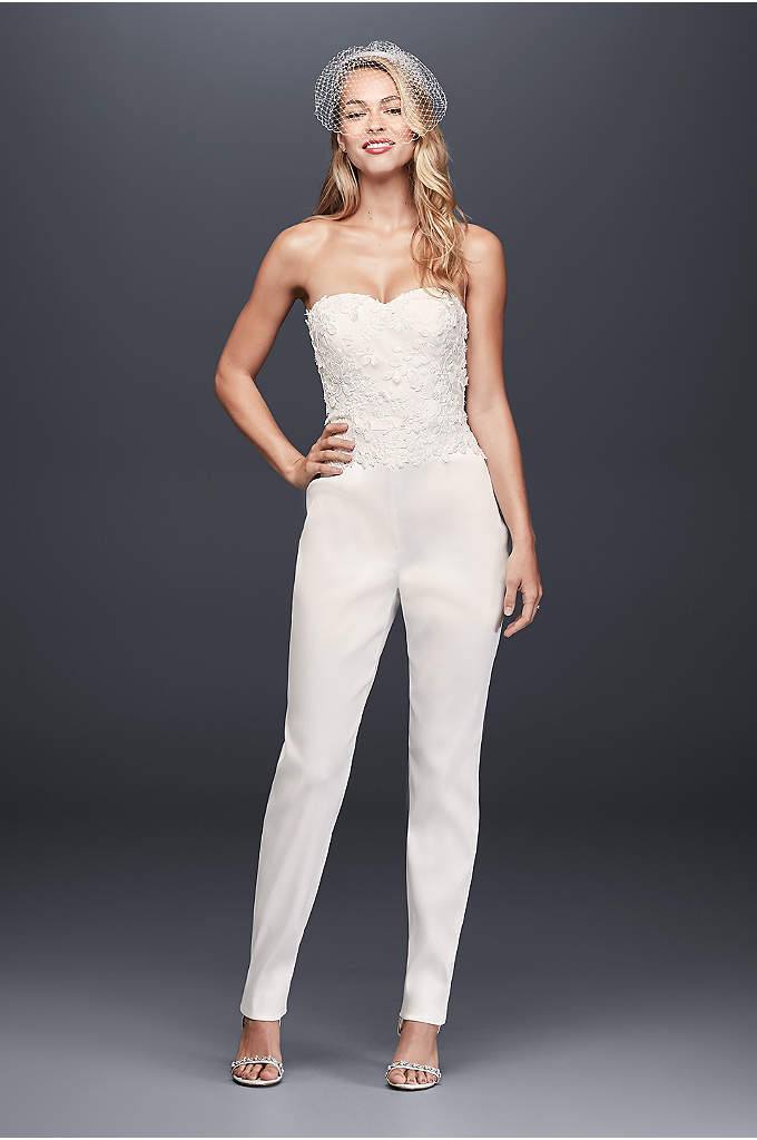 Strapless Mikado Bridal Jumpsuit with 3D Flowers - Want to turn tradition on its head, or