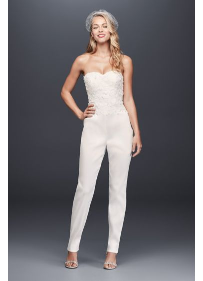 Long Jumpsuit Beach Wedding Dress - Galina