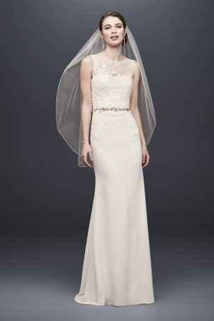 Crepe Sheath Wedding Dress with Illusion Neckline - A classic sheath with beautiful details, this crepe