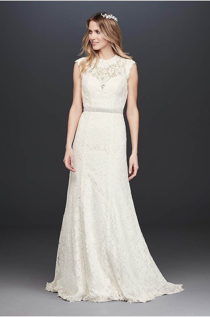 Allover Lace Cap Sleeve Sheath Wedding Dress - This cap sleeve sheath wedding dress is simply