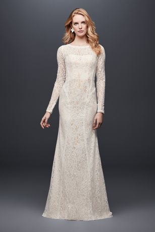 Allover Lace Long-Sleeve Sheath Wedding Dress - Playful details elevate this simple lace long-sleeve sheath