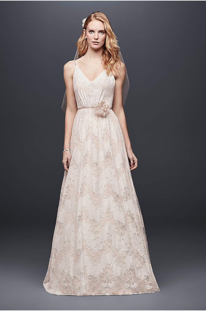 Allover Lace Spaghetti Strap A-Line Wedding Dress - Burnout lace forms a subtle chevron pattern on