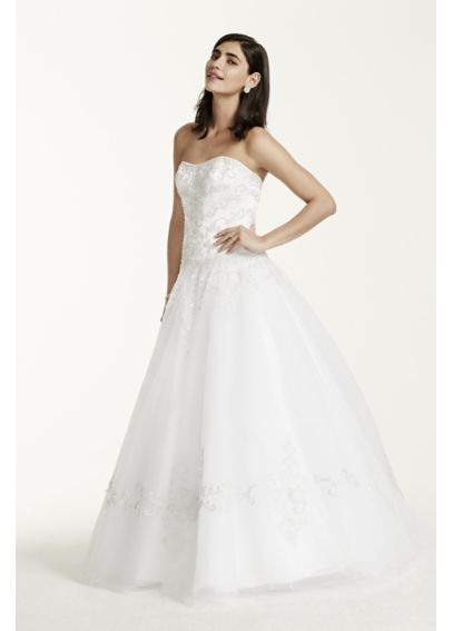 Strapless Tulle Ball Gown with Satin Bodice WG9927