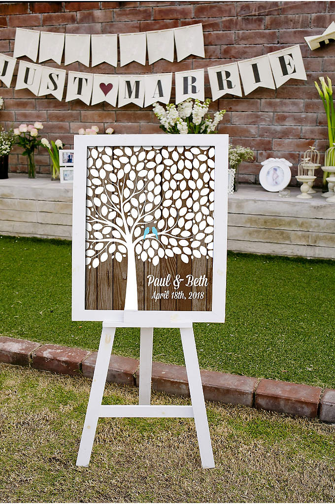 Personalized Lovebirds Tree Signature Guest Book - Instead of a guest book, ask friends and