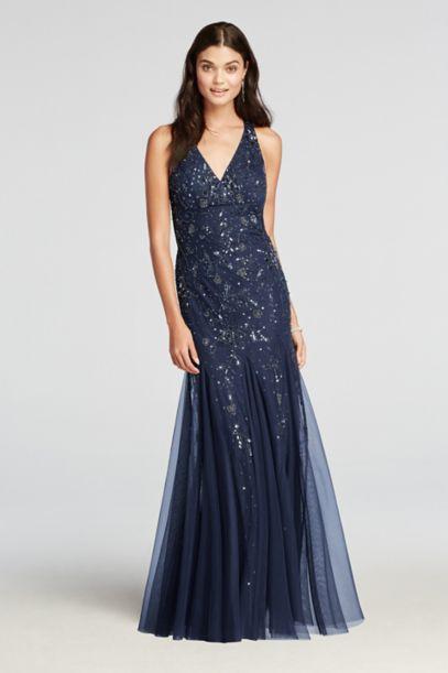 Beaded V Neck Halter Prom Dress With Open Back Davids Bridal
