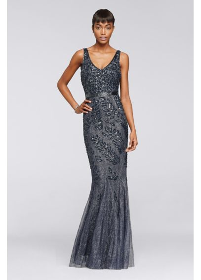 Long Sequined Dress with Cowl Back WGIN0103