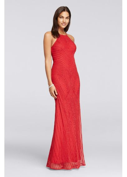 Long Allover Beaded Dress with High Halter Neck WGIN0138