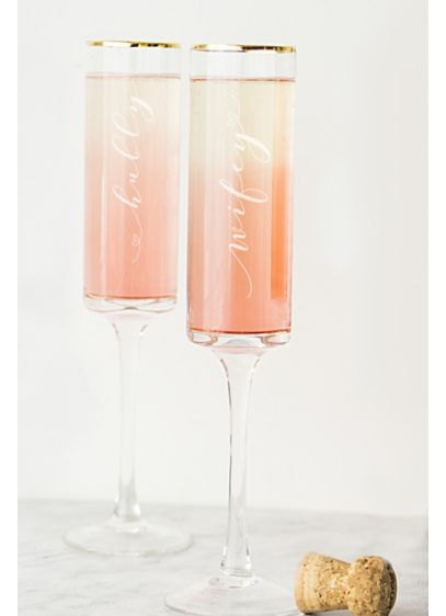Hubby and Wifey Gold Rim Champagne Flutes - Wedding Gifts & Decorations