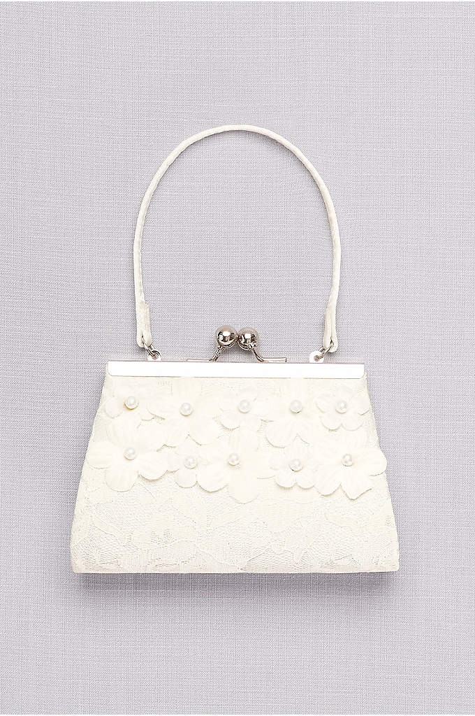 Girls Lace Purse with 3D Pearl Flowers - A sweet little carryall for your flower girl