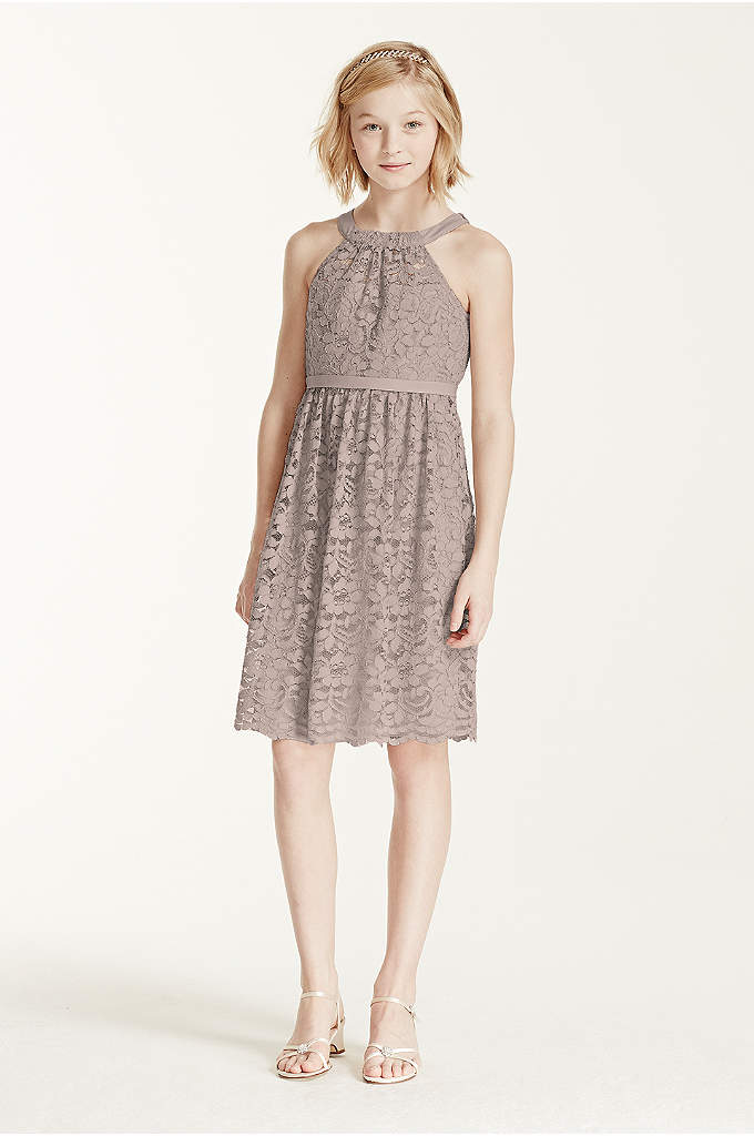 Sleeveless Lace Halter Dress with Back Tie - She will be doing tons of twirling in