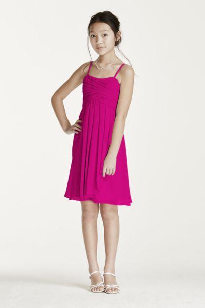 Short Chiffon Dress with Cascade Ruffle - Davids Bridal