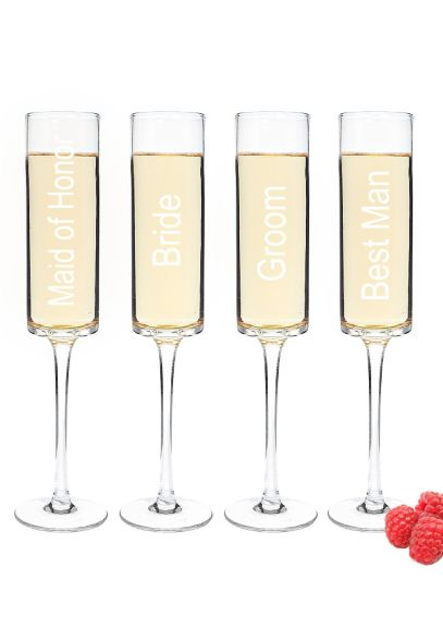 Wedding Party Champagne Toasting Flutes Set of 4 WP-3668-4