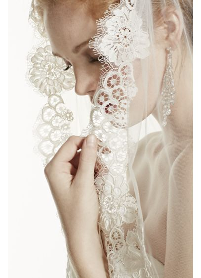 Trailing Floral Lace Mid Length Veil - Wedding Accessories